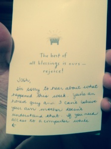 I found this card when I was going through a old shoe-box. She was in tears when she heard about what happened.