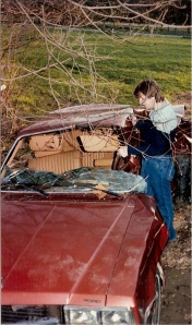 My father as a young man, revisting the wreckage that nearly took his his life.