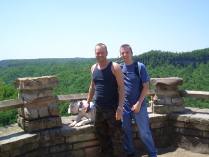 My brother and I hiking at Red River Gorge