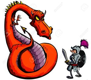 9290106-Cartoon-of-a-knight-facing-a-fierce-dragon-Isolated-on-white-Stock-Vector